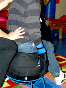 The AlertSeat design facilitates core strengthening and posture improvement therapies for all ages.